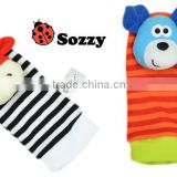 Sozzy plush toy, nursery toy, sozzy foot finder, sozzy baby socks, dog and cow designs