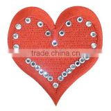 rhinestone beaded embroidered heart patch