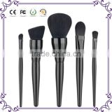 New 5pcs shiny brand your own VEGAN black wooden synthetic hair make up brushes cosmetics makeup brush set