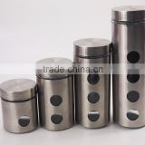 4pcs set glass jar with stainless steel coating and metal lid