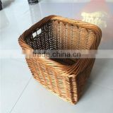 brown color rectangular Pet front bicycle basket wicker