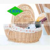 Wholesale wicker shopping basket with lid