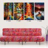 Paintings for living room wall 4 Panel Palette Knife Oil Painting Stretched Colorful Wall Pictures for Home Decoration