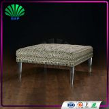 Commercial Shop Square Bench Soft Relax Sofa Expanding Sofa Bed With Clear Crystal Leg