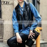 2015 New Arrival Autumn Black Women Vest Pu leather jacket Waistcoat Gilet