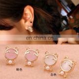 latest cute girls earrings Small Size Trendy simple pink and white opal jewelry beautiful cat shape stud earrings for lady