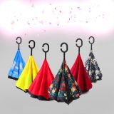 Hot Selling Double Layer Inside Outside Reversible Umbrella With C Handle
