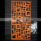 Water resistant corten steel decorative screen wall panel with 3d led light