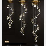 Luxury K9 crystal Chandelier Lamp Brass Stair pendant lamp for living room and dining room, Stair