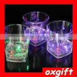 OXGIFT Clear Concave Base Tumblers Bar Round Beer Mugs Plastic Stackable Table Glass Beverage Cups Club