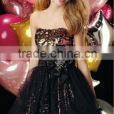 2014 New High Quality youth strapless sleeveless mini Party Dress with sequined and beaded flower teenage party dress