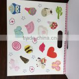 2015 new design kids color filling book with wire binding