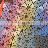 INquiry about Special Materials pu leather fabrics with geometric figures and colorful flowers pattern ,and shiny glossy surface