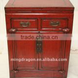 Antique Chinese Red Wedding Bedside Cabinet