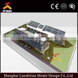 1:750 miniature scale building model with wood base
