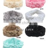 Wholesale kids or women elastic wide lace headband, lace knot cross head wrap hair accessories