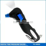 5-in-1 LCD Digital Blue Backlit Display Tire Air Pressure Gauge and Escape Tool with LED Flashlight ,Safety Belt and Safety Brea