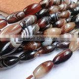 Natural Smooth Drum Shape Brown Agate Strip Loose Beads Unit Shape For Regilious Gift