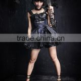 Q-162 Smooth Lattice Braces Skirt Plus Size Leather Dress Double Color Skirt From Punk Rave