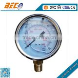 Bottom mounting liquid filled stainless steel case ultra high manometer