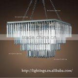 led project iron pendant lighting,modern design square crystal chandelier, hotel christmas luxury crystal suspension lighting