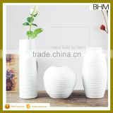 Bisque firing pure white fashion large jingdezhen ceramic floor vase for hotel decor
