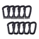 10pcs/lot Black Color 80-mm D Shape Carabiner Clip Snap Hook Key Ring Holder Outdoor Camping Hiking
