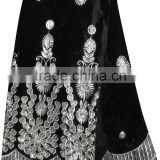 CL2073-3 New design high quality African big embroidered black Velvet lace softly material for making dress