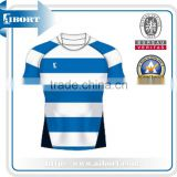 SUBRG-881 sublimated white blue striped rugby jersey                                                                         Quality Choice