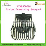 Alibaba China Manufacturer Fashion PU Leather Canvas Stripe Drawstring student Backpack bag