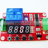 FRM02 DC 12V 24V delay on/off Cycle timer switch on/off self-locking Multifunction electric relay module red voltmeter display