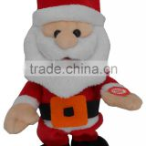 2015 new Christmas music novelty talking electronic Walking & Musical movement red plush santa