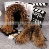 Wholesale natural Raccoon Fur Hood Trim / Detachable Fur Collars / Fur Scarf