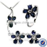 New Arrival High Collection Elegant 925 Sterling Silver Natural Blue Sapphire Jewelry Set