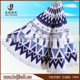 alibaba china wholesale promotion hot sale microfiber printed beach towel round with tassel