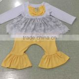 koya wholesale xmas snow white baby clothes 100% cotton fabric clothing set overseas christmas girls boutique clothes outfits