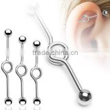 Snow White Titanium Anodized Industrial Style Steel Barbell Cartilage Earring with Ball Ends Completely Customizable Post - Sele