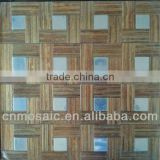 copy wooden floor & steel color peel and stick brushed aluminium instant tile for kitchen background wall decoration