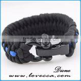 Black ajustable stainless steel shackles for survival paracord bracelet with logo