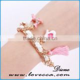 2016 New design hot sale Girls love light color bracelet with pearl heart glove crystal deer little charms