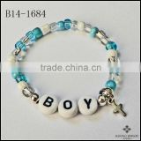 Adult Sizes Boy Beads Natural Color Pearl and Silver Bracelet Personalized Name Bracelet Cross Charm Bracelet Jewelry