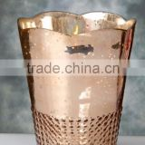 Mercury Glass Votive Holder Rose Gold 7.5in
