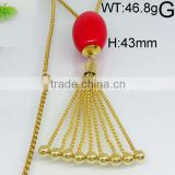 Dangle ruby color beads gold plating tassel necklace