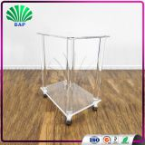 High Quality Lucite Hair Salon Trolley Acrylic Clear Trolley Double Tier Serving Trolley
