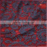 2 colors colorful floral warp knitting lace,jacquard cotton nylon cord lace fabric for dress