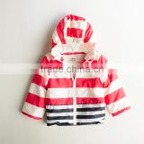 Winter Red Stripped Hoodie Child Jacket Wholesale Kids Coats