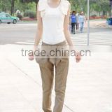 2014 latest trend Skinny Long Trousers office lady fashion casual Bow formal Harem Pants Chic Black