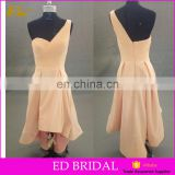 Stunning one shoulder pleating short skirt A line open back real sample bridesmaid dress gown