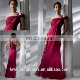 HC2221 Exclusive one shoulder specifical neck red gathered chiffon A-line zipper back full length long 2014 cocktail dresses