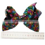 High quality Big bowknot with alloy Hair Clips 15cm sequin bowknot alligator Clips for kids